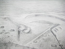 Miss Chen drew the landmark stone fishtrap of her native island, the Qimei Island, i.e., 'the  			Seven Beauties Island'