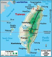This map shows Pescadores Islands' location between Taiwan and the Mainland China.